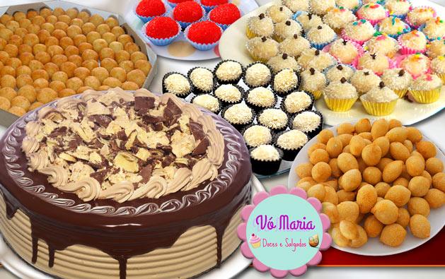 Comemore com Kit Festa para 40 pessoas da Vó Maria Doces e Salgados! Torta Doce + 300 Salgados fritos variados + 100 Docinhos tradicionais por R$99.