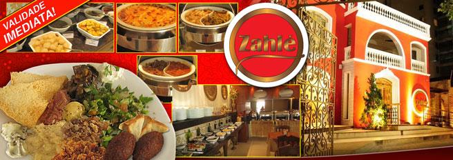 Almoço das Arábias no Restaurante Zahlé Mezze Libanesa! Desconto em Buffet com deliciosos pratos da Culinária Árabe e Contemporânea de R$49,90 por R$24,95. Sirva-se a vontade!