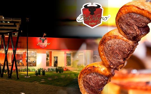 Churrascaria Boi Negro Aguanambi: Rodízio de Carnes + Buffet com Pratos Quentes, Saladas e Sushi a partir de R$29,90. Confira opções para Almoço ou Jantar!
