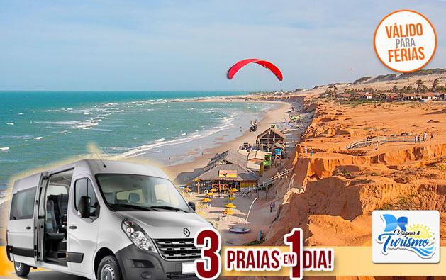 Programe 1 dia de lazer repleto de lindas paisagens do Litoral Leste com a DS Viagens & Turismo! Passeio 3 Praias (Morro Branco, Praia das Fontes e Canoa Quebrada) por apenas R$34,90.