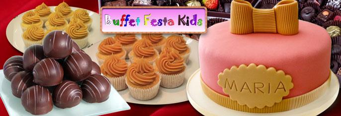 Bolo na pasta americana para 40 pessoas + 100 Chocolates Finos + 20 Cupcakes no Buffet Festa Kids por R$129!