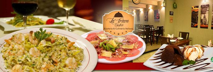 Excelente opção para Jantar ou Almoço para 2 pessoas no charmoso La Trave Bistrô! Carpaccio de Carne + Qualquer Massa ou Risoto do Cardápio + Petit Gateau por apenas R$59,90.