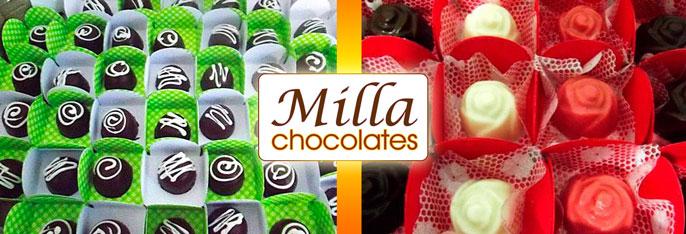Delícias da Milla Chocolates que vão fazer muito sucesso no sua festa! 100 Chocolates Finos (4 sabores) em caixetas individuais por apenas R$39,90.