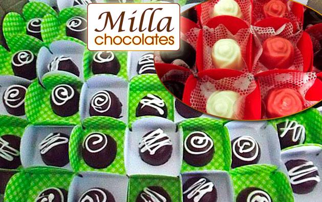 Delícias da Milla Chocolates que vão fazer muito sucesso no sua Festa! Desconto em 100 Chocolates Finos (4 sabores) em caixetas individuais por apenas R$39,90.