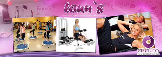 Treinamento com resultados eficazes que realçam sua beleza e forma física na Tonu's Academia! Desconto para 1, 2 ou 3 Meses de atividades físicas (Circuito Tonu´s) a partir de R$ 89,90!