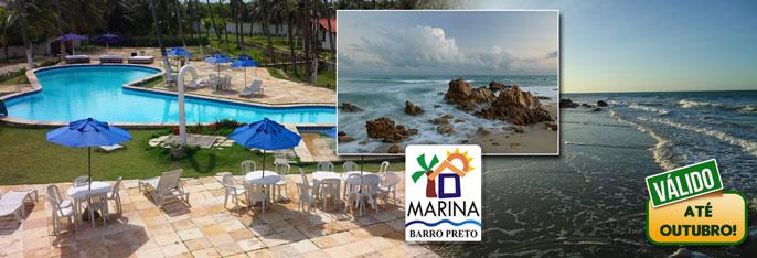 Aproveite dias de lazer e descanso na Pousada Marina Barro Preto! Desconto em 2 diárias em chalé Standard para 2 pessoas com café da manhã por R$189! Válido até OUTUBRO/2016.