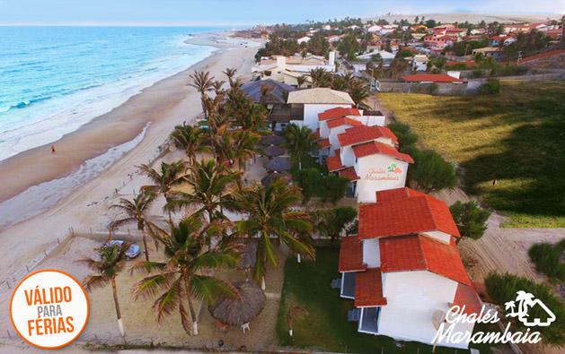 Nessas Férias reserve dias de lazer e descanso de frente pro mar na Praia de Uruaú! Desconto em 2 Diárias para até 6 pessoas a partir de R$229 no Chalés Marambaia.