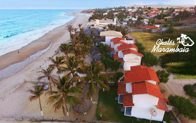 Reserve dias de lazer e descanso de frente pro mar na Praia de Uruaú! Desconto em 2 Diárias para até 6 pessoas a partir de R$199 no Chalés Marambaia.