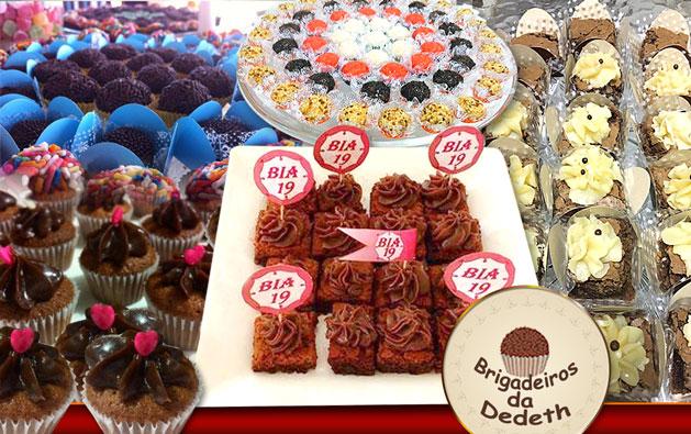 Sua Festa muito mais gostosa com a Brigadeiros da Dedeth! 100 Docinhos OU 50 Minibrownies OU 50 Minicupcakes a partir de R$28,90.