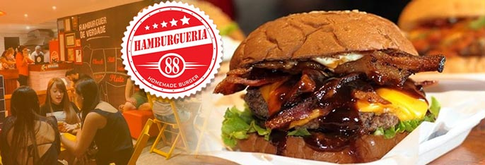 O Hambúrguer de Verdade! Consuma no local ou leve pra casa Qualquer Hambúrguer* da Hamburgueria88 por apenas R$14,90.