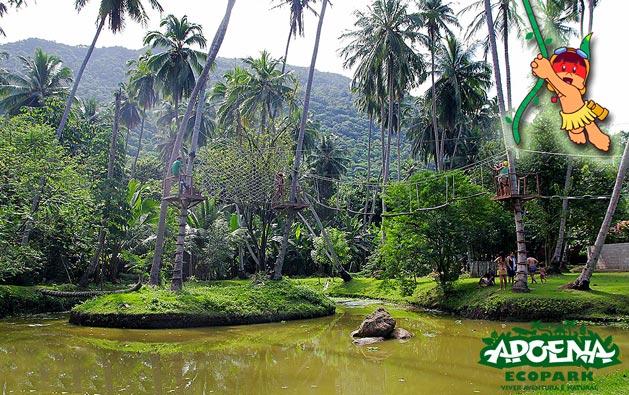 Diversão em contato com a natureza no Apoena Ecopark! Entrada com acesso ao Parque Aquático e Trilha Ecológica + Almoço* para até 04 pessoas a partir de R$65.