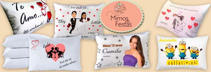 Lindas e charmosas lembrancinhas da Mimos de Festas! Desconto em 15 Travesseiros (30x20cm) personalizados e embalados. Compre até 5 cupons!
