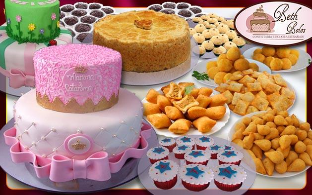 Sua Festa Completa com a qualidade Beth Bolos!!! Kit Festa: Bolo de 2 andares (decorado com Pasta Americana), 200 Salgados, 100 Doces, 6 Minicupcakes e Torta de Frango por R$199.