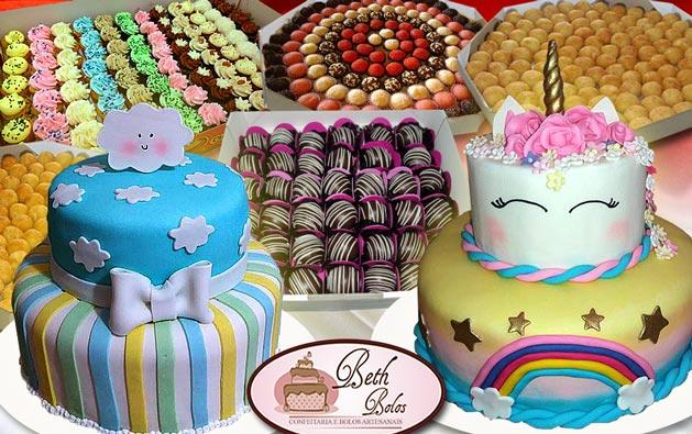 Sua Festa Completa com a qualidade Beth Bolos!!! Kit Festa: Bolo de 2 andares para 30 ou 50 pessoas (decorado com Pasta Americana), 200 Salgados, 100 Doces, 6 Minicupcakes e 20 Mini Trufas a partir de R$199.