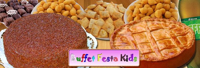 Torta Doce para 30 Pessoas + 150 Salgados + Torta de Frango (1Kg) + Refrigerante 2 litros no Buffet Festa Kids por R$79,90!