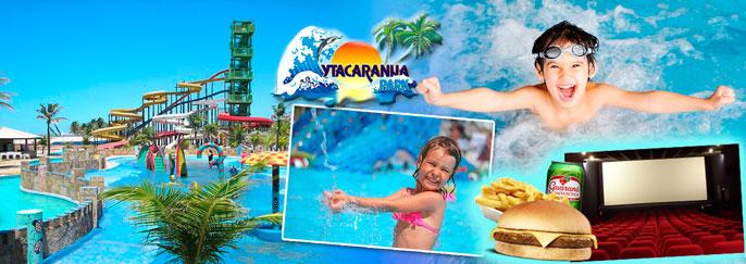 Ingresso Adulto + 1 Criança até 8 anos para o Parque Aquático OU 2 Ingressos Adulto + 1 Criança até 8 anos para o Parque Aquático + 3 Ingressos para Sessão no Cine Ytacaranha + 1 Combo Lanche a partir de R$27,99!