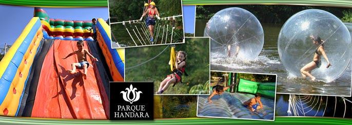 Sábado, Domingo ou Feriado é dia de diversão no Parque Handara em Guaramiranga! Entrada com acesso a todos os brinquedos (Tirolesa, Ponte de 3 cordas, Pedalinhos, Aero Jump, Futebol de sabão, Touro mecânico, Toboágua e mais) + Visita ao Museu de Engenho + Opcional com Almoço a partir de R$19,90.