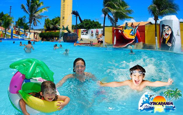 Diversão pra toda família no Ytacaranha Park! Desconto em 1 Ingresso Adulto + 1 Criança até 6 anos para o Parque Aquático por apenas R$34,90.