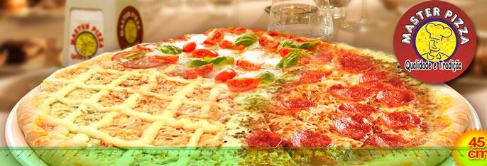 Pizza Gigante ou Calzone Gigante (22 opções de sabores) a partir de R$14,90. Os maiores tamanhos da cidade com o sabor inigualável da tradicional Master Pizza!