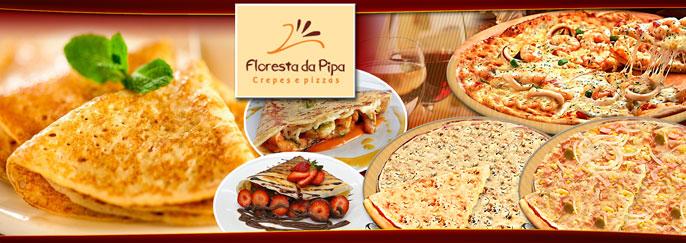Crepe (salgado ou doce) ou Pizza, vários sabores à sua escolha, no aconchegante Floresta da Pipa! Garanta seu cupom a partir de R$11,95.