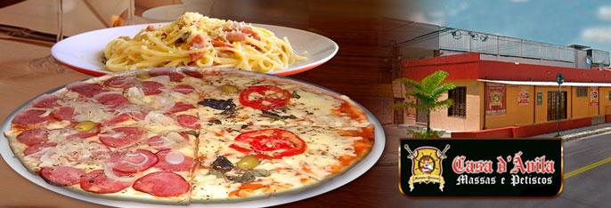 Pizza Grande (sabores tradicionais) ou Massa com Molho para 2 pessoas (linha tradicional) por apenas R$16,90 com a qualidade Casa d'Ávila!