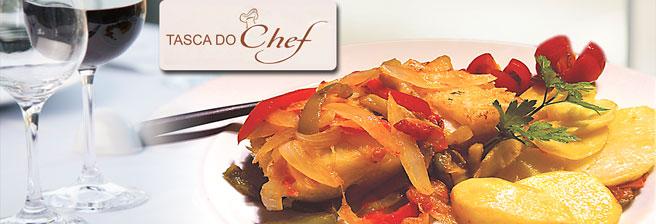 Supreenda-se em uma Noite Lusitana na Tasca do Chef! Entrada à Tasca + Prato Principal (Bacalhau à Braga) para até 4 pessoas a partir de R$49,90.