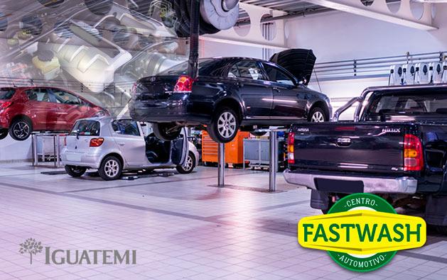 Shopping Iguatemi: Alinhamento + Balanceamento + Revisão de 15 itens a partir de R$19,90 no Centro Automotivo Fast Wash!