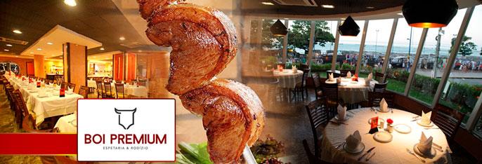 O que era excelente agora é Premium. Boi Negro agora é Boi Premium Espetaria & Rodízio. Nossa especialidade é Carne! Rodízio de Carnes Nobres  + Buffet com Pratos Quentes, Saladas, Sushi e muito mais para Almoço ou Jantar por R$44,90.