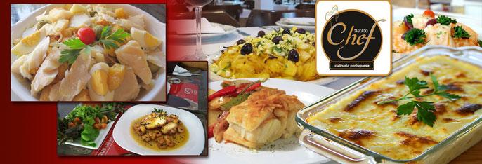 Rodízio de Bacalhau no Tasca do Chef: bolinhos de bacalhau, bacalhau com natas, bacalhau à Brás e muito mais para 1, 2 ou 4 pessoas a partir de R$29,90!