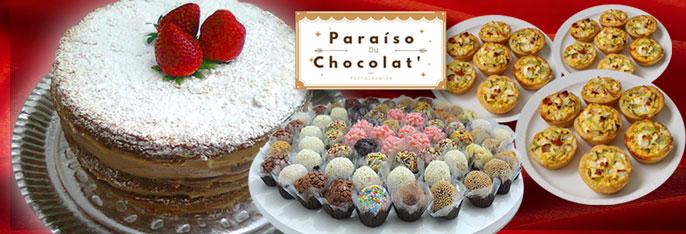 Um Kit especial da Paraíso du Chocolat pra deixar seu evento mais gostoso! Naked Cake para 30 pessoas + 50 Mini Quiches + 50 Brigadeiros Gourmet por R$99,90.