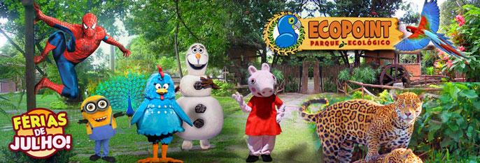 Nas Férias de Julho tem natureza e diversão garantida no Parque Ecopoint! Desconto em 1, 2 ou 3 Ingressos (Adulto ou Infantil) a partir de R$18. Incluso todos os shows infantis: Galinha Pintadinha, Peppa Pig, Minions, o incrível Olaf e Spider Man.