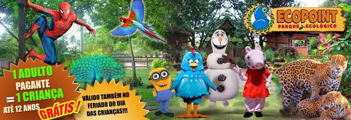 Outubro é o Mês das Crianças no Parque Ecopoint: Criança até 12 anos entra GRÁTIS acompanhada de um Adulto pagante! Confira opções com até 6 Ingressos a partir de R$10. Incluso todos os shows infantis. Válido também no FERIADO DO DIA DAS CRIANÇAS!!!