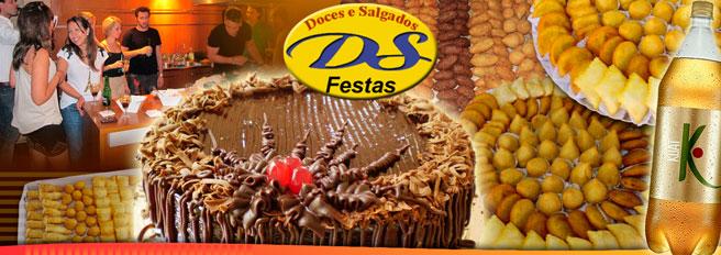 Doces e Salgados deliciosos fazem o sucesso da festa! Sinta o sabor da DS Festas com Kit completo contendo: Torta doce para 50 pessoas + 300 Salgadinhos + 1 Refrigerante 2l, de R$ 140 por apenas R$ 59,90!